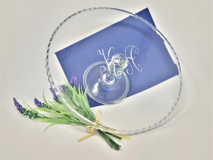 personalised glass cake stand with 2 initials monogram for wedding or engagement