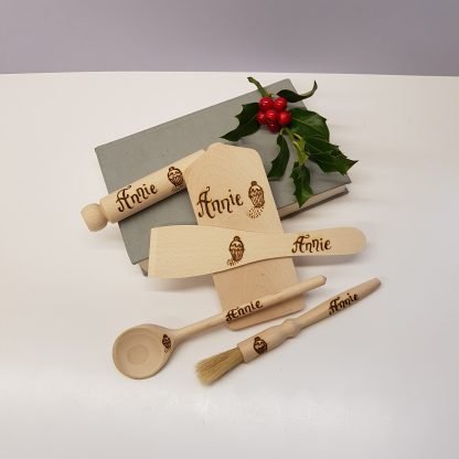 childs wooden cooking set personalised with name and cupcake design