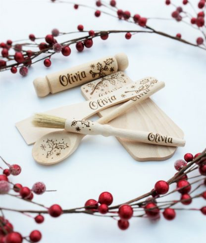 childrens wooden baking set personalised with holly design for christmas