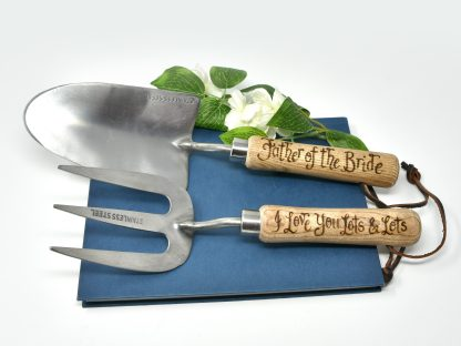 father of the bride personalised garden tools prop 43