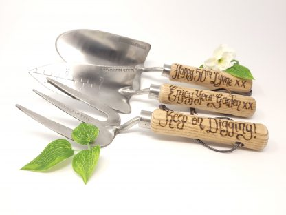 happy 50th lynne enjoy your garden keep on digging personalised garden tool set