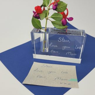 handwriting of loved one copied onto personalised glass bud vase3