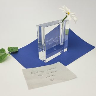 personalised glass bud vase hand engraved with loved ones handwriting3