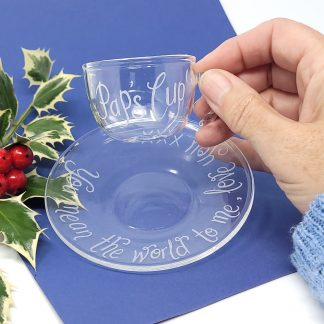 personalised glass espresso cup and saucer for dad112